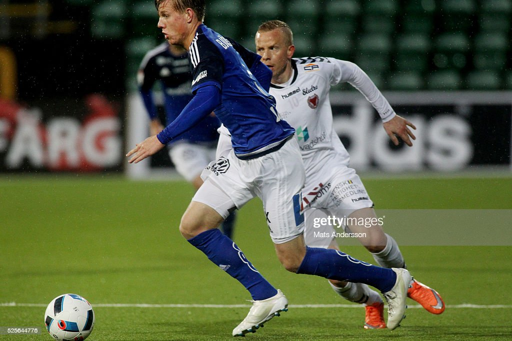 Eric Bjorkander of GIF Sundsvall and Tobias Eriksson of Kalmar FF competes for the ball during the Allsvenskan match between GIF Sundsvall and Kalmar FF at Norrporten Arena on April 28, 2016 in Sundsvall, Sweden.