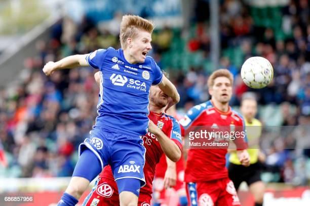 Eric Bjorkander of GIF Sundsvall and Tobias Hysen of IFK Goteborg during the Allsvenskan match between GIF Sundsvall and IFK Goteborg at...