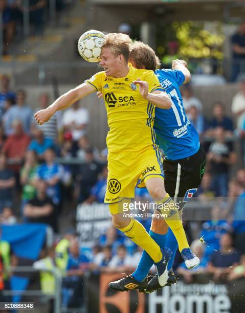 Eric Bjorkander of GIF Sundsvall shoots a header during the Allsvenskan match between Halmstad BK and GIF Sundsvall at Orjans Vall on July 22 2017 in...