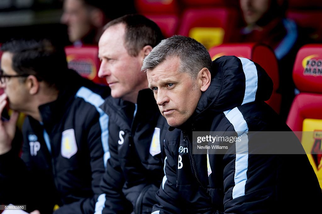 Eric Black acting Manager of Aston Villa during the Barclays Premier League match between Watford and Aston Villa at Vicarage Road on April 30, 2016 in Watford, England.