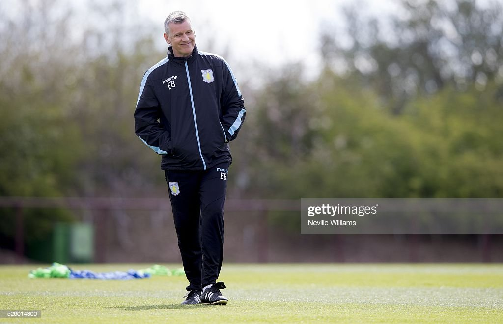 Eric Black acting manager of Aston Villa in action during a Aston Villa training session at the club's training ground at Bodymoor Heath on April 29, 2016 in Birmingham, England.