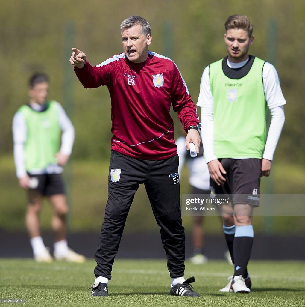 Eric Black Acting Manager of Aston Villa in action during a Aston Villa training session at the club's training ground at Bodymoor Heath on May 06, 2016 in Birmingham, England.