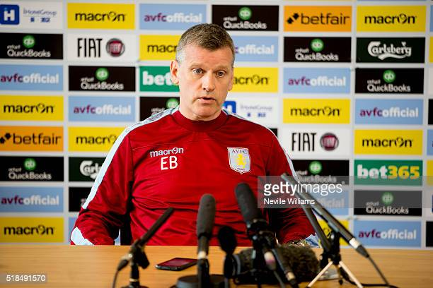 Eric Black acting manager of Aston Villa talks to the press during a press conference at the club's training ground at Bodymoor Heath on April 01...