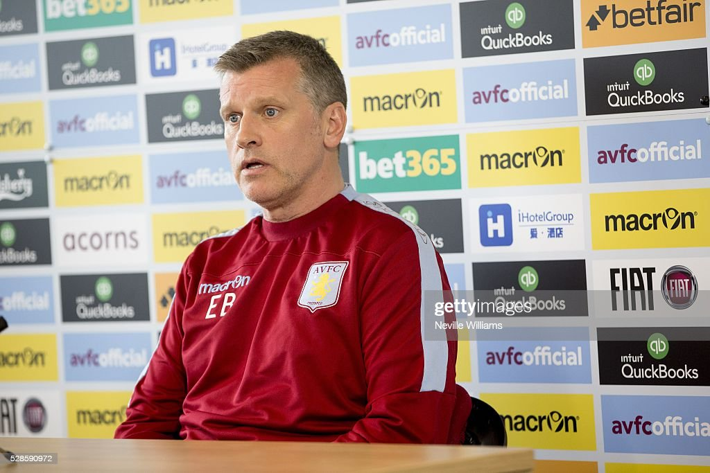 Eric Black acting manager of Aston Villa talks to the press during a press conference at the club's training ground at Bodymoor Heath on May 06, 2016 in Birmingham, England.