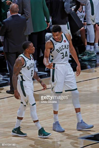 Eric Bledsoe and Giannis Antetokounmpo of the Milwaukee Bucks talk during the game against the San Antonio Spurs on November 10 2017 at the ATT...