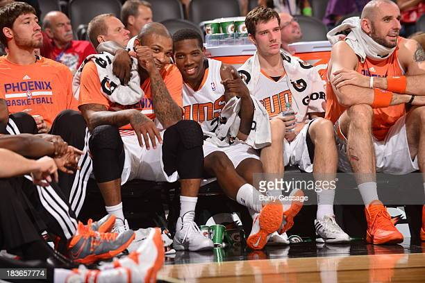 Eric Bledsoe and PJ Tucker of the Phoenix Suns pose for a photo during game against Maccabi Haifa on October 7 2013 at US Airways Center in Phoenix...