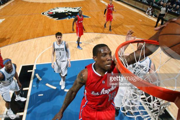 Eric Bledsoe of the Los Angeles Clippers dunks the ball against the Minnesota Timberwolves on January 30 2013 at Target Center in Minneapolis...