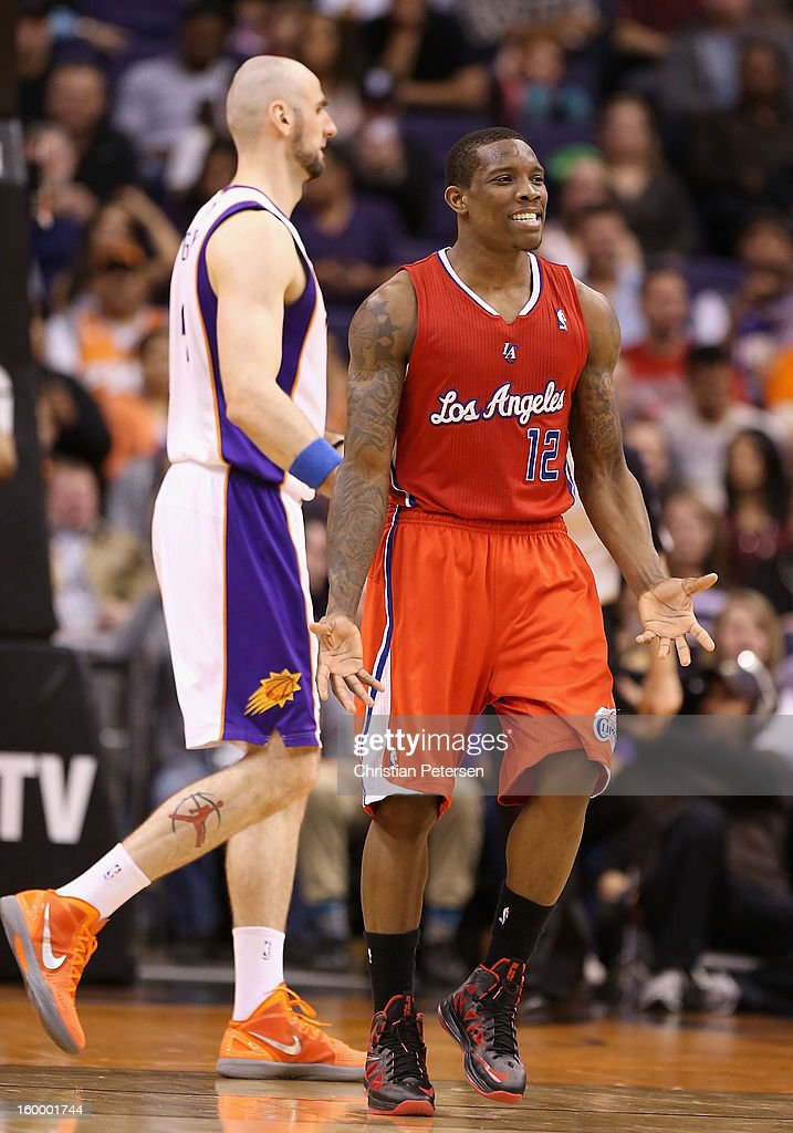 Eric Bledsoe #12 of the Los Angeles Clippers reacts to a foul call during the NBA game against the Phoenix Suns at US Airways Center on January 24, 2013 in Phoenix, Arizona.