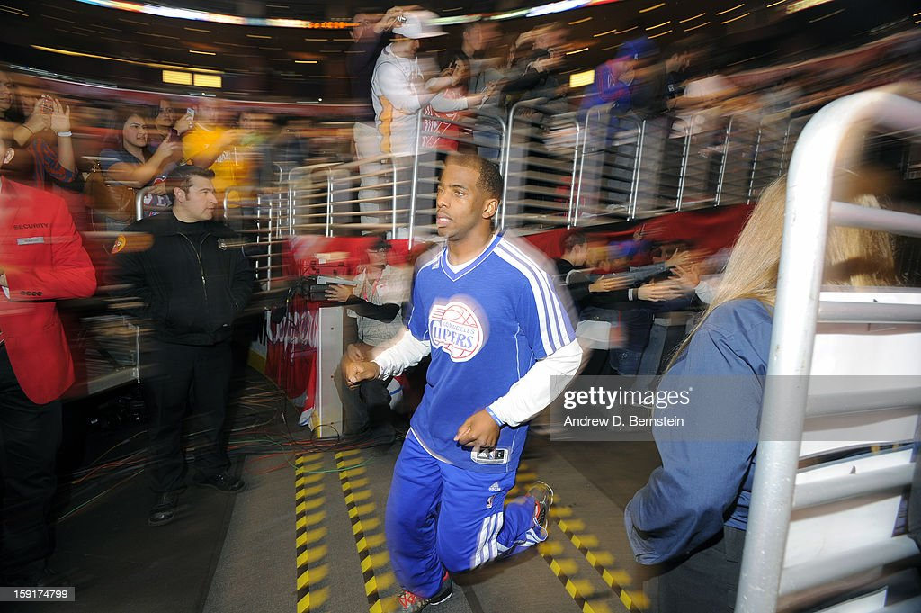 Eric Bledsoe #12 of the Los Angeles Clippers runs out of the tunnel prior to the game against the Los Angeles Lakers at Staples Center on January 4, 2013 in Los Angeles, California.