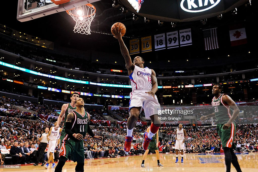 Eric Bledsoe #12 of the Los Angeles Clippers shoots a layup against the Milwaukee Bucks at Staples Center on March 6, 2013 in Los Angeles, California.