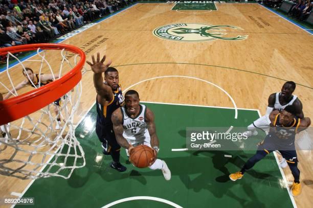 Eric Bledsoe of the Milwaukee Bucks goes to the basket against the Utah Jazz on December 9 2017 at the BMO Harris Bradley Center in Milwaukee...
