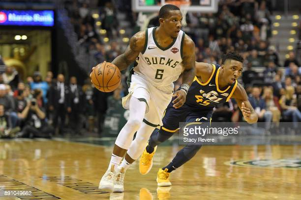 Eric Bledsoe of the Milwaukee Bucks handles the ball during a game against the Utah Jazz at the Bradley Center on December 9 2017 in Milwaukee...
