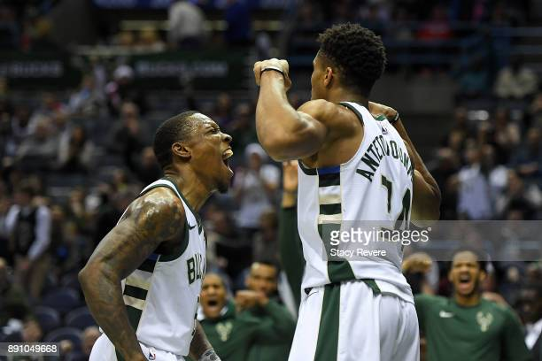 Eric Bledsoe of the Milwaukee Bucks reacts to a score by Giannis Antetokounmpo during the second half of a game against the Utah Jazz at the Bradley...