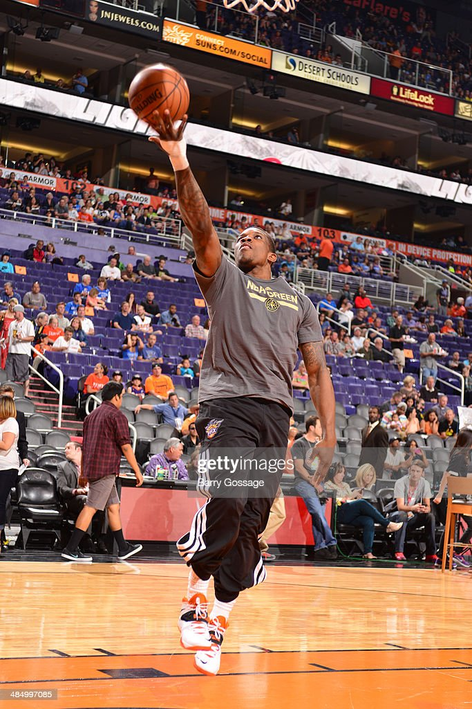 Eric Bledsoe #2 of the Phoenix Suns before a game against the Oklahoma City Thunder on April 6, 2014 at U.S. Airways Center in Phoenix, Arizona.