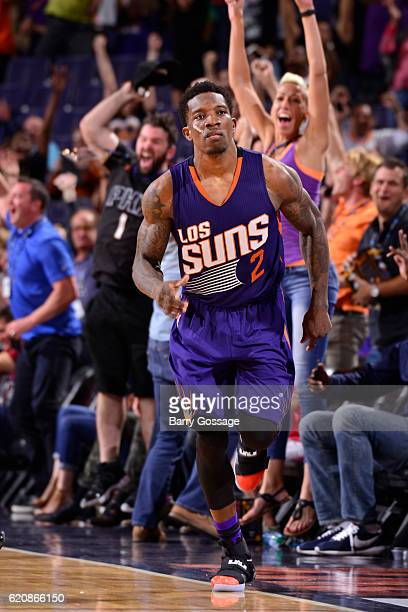 Eric Bledsoe of the Phoenix Suns celebrates as he runs up court after making the game winning three point basket in overtime against the Portland...