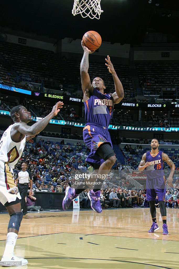 <a gi-track='captionPersonalityLinkClicked' href=/galleries/search?phrase=Eric+Bledsoe&family=editorial&specificpeople=6480906 ng-click='$event.stopPropagation()'>Eric Bledsoe</a> #2 of the Phoenix Suns drives to the basket against the New Orleans Pelicans on November 5, 2013 at the New Orleans Arena in New Orleans, Louisiana.