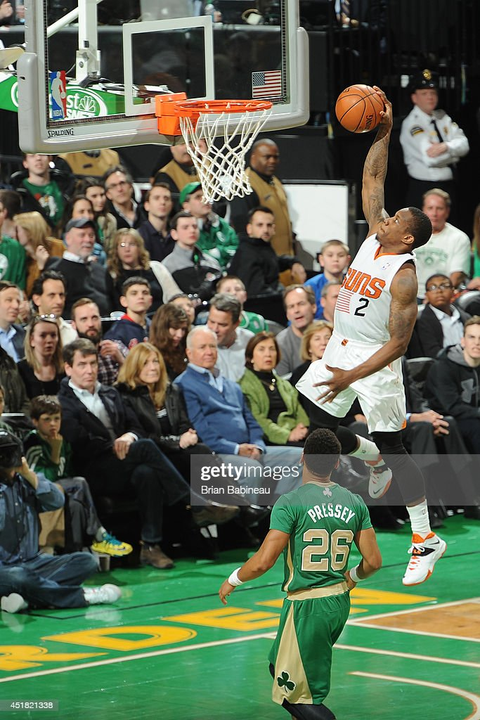 <a gi-track='captionPersonalityLinkClicked' href=/galleries/search?phrase=Eric+Bledsoe&family=editorial&specificpeople=6480906 ng-click='$event.stopPropagation()'>Eric Bledsoe</a> #2 of the Phoenix Suns goes up for a dunk against the Boston Celtics on March 14, 2014 at the TD Garden in Boston, Massachusetts.
