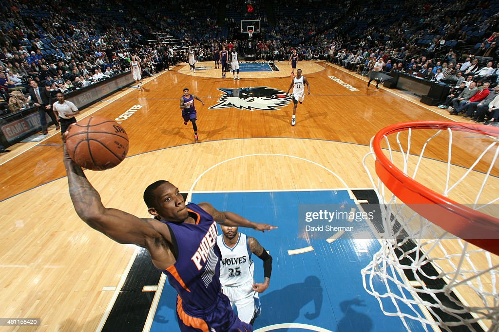 <a gi-track='captionPersonalityLinkClicked' href=/galleries/search?phrase=Eric+Bledsoe&family=editorial&specificpeople=6480906 ng-click='$event.stopPropagation()'>Eric Bledsoe</a> #2 of the Phoenix Suns goes up for a dunk against the Minnesota Timberwolves on January 7, 2015 at Target Center in Minneapolis, Minnesota.