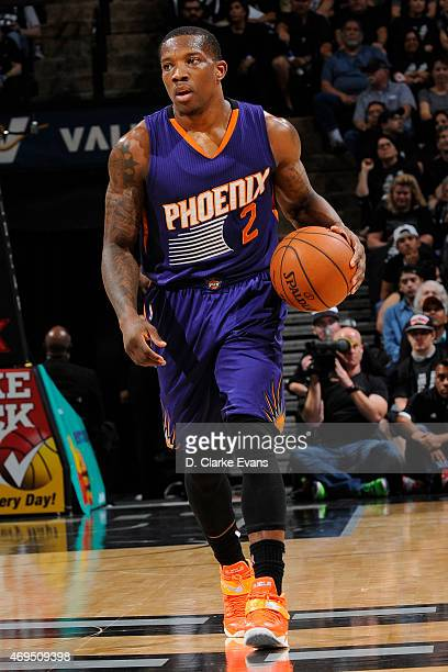 Eric Bledsoe of the Phoenix Suns handles the ball against the San Antonio Spurs at the ATT Center on April 12 2014 in San Antonio Texas NOTE TO USER...