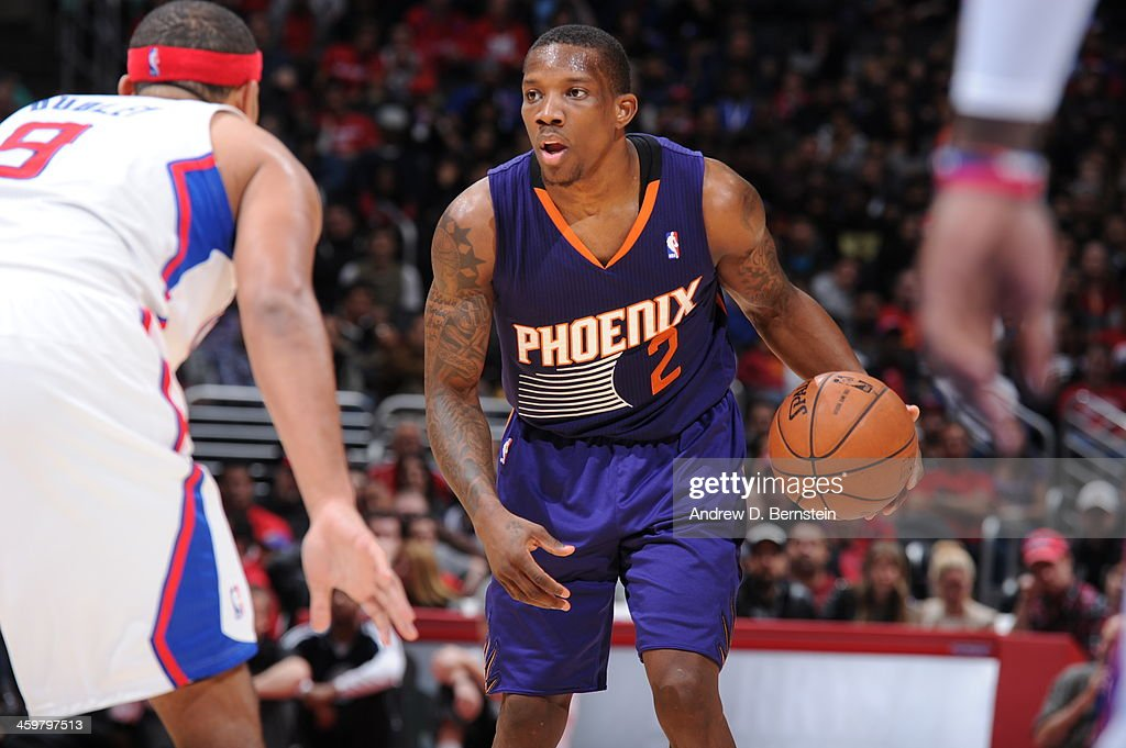 <a gi-track='captionPersonalityLinkClicked' href=/galleries/search?phrase=Eric+Bledsoe&family=editorial&specificpeople=6480906 ng-click='$event.stopPropagation()'>Eric Bledsoe</a> #2 of the Phoenix Suns handles the basketball against Jared Dudley #9 of the Los Angeles Clippers at STAPLES Center on December 30, 2013 in Los Angeles, California.