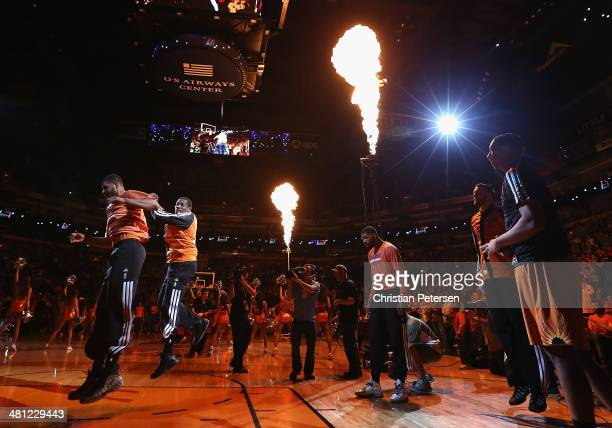 Eric Bledsoe of the Phoenix Suns leaps in the air as he is introduced to the NBA game against the New York Knicks at US Airways Center on March 28...