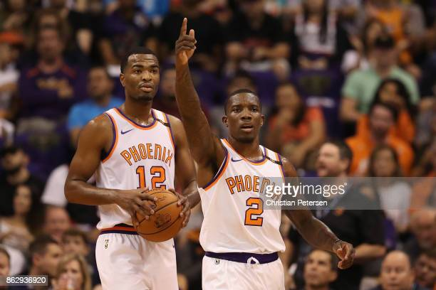 Eric Bledsoe of the Phoenix Suns reacts to a call during the first half of the NBA game against the Portland Trail Blazers at Talking Stick Resort...