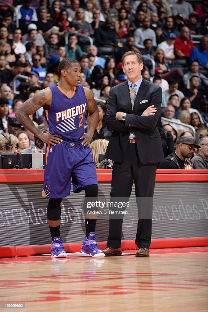 Eric Bledsoe talks to Jeff Hornacek of the Phoenix Sunsduring the game on November 15 2014 at STAPLES CENTER in Los Angeles California NOTE TO USER...