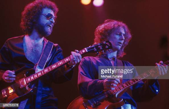 Eric Bloom and Allen Lanier from Blue Oyster Cult perform on stage United States circa 1977