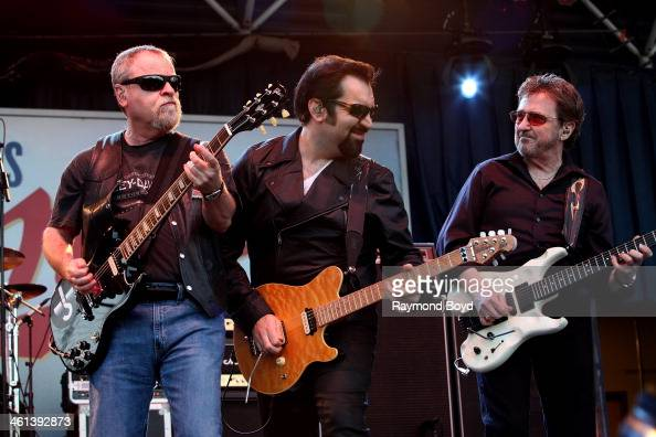 Eric Bloom Richie Castellano and Donald 'Buck Dharma' Roeser from Long Island New York rock band Blue Oyster Cult performs on the Miller Lite Oasis...