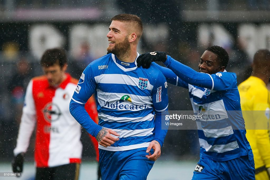 Eric Botteghin of Feyenoord, Lars Veldwijk of PEC Zwolle, Queensy Menig of PEC Zwolle during the Dutch Eredivisie match between PEC Zwolle and Feyenoord Rotterdam at the IJsseldelta stadium on February 14, 2016 in Zwolle, The Netherlands
