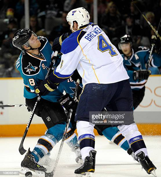 Eric Brewer of the St Louis Blues is called for high sticking on Joe Pavelski of the San Jose Sharks in the second period of an NHL hockey game at...