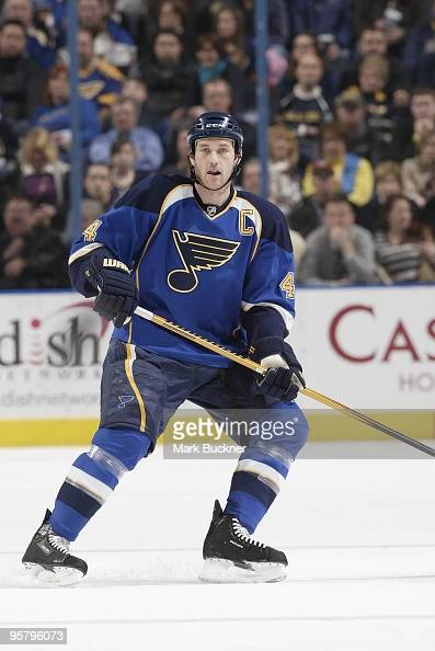 Eric Brewer of the St Louis Blues skates against the Minnesota Wild on January 14 2010 at Scottrade Center in St Louis Missouri