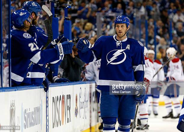 Eric Brewer of the Tampa Bay Lightning celebrates a goal against the Montreal Canadiens in Game One of the First Round of the 2014 Stanley Cup...
