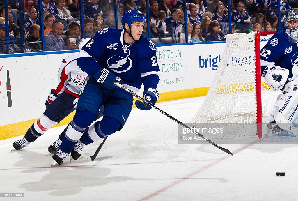 <a gi-track='captionPersonalityLinkClicked' href=/galleries/search?phrase=Eric+Brewer&family=editorial&specificpeople=202144 ng-click='$event.stopPropagation()'>Eric Brewer</a> #2 of the Tampa Bay Lightning controls the puck during the second period of the game against the Washington Capitals at the Tampa Bay Times Forum on February 14, 2013 in Tampa, Florida.