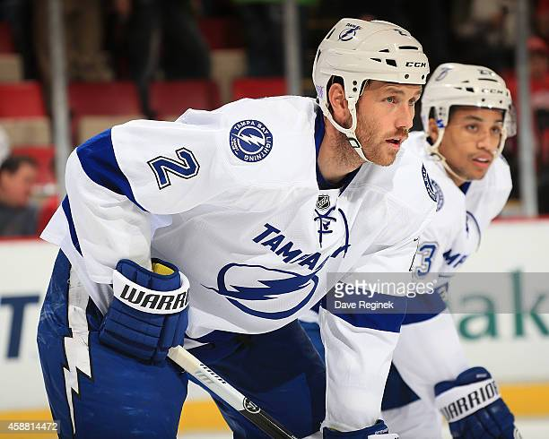 Eric Brewer of the Tampa Bay Lightning gets set for the faceoff against the Detroit Red Wings during a NHL game on November 9 2014 at Joe Louis Arena...