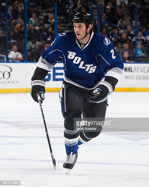 Eric Brewer of the Tampa Bay Lightning skates against the Colorado Avalanche at the Tampa Bay Times Forum on January 25 2014 in Tampa Florida