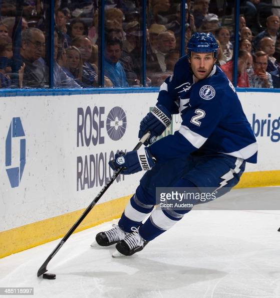 Eric Brewer of the Tampa Bay Lightning skates against the Columbus Blue Jackets at the Tampa Bay Times Forum on April 11 2014 in Tampa Florida