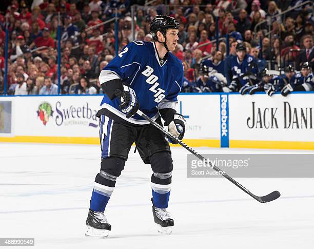 Eric Brewer of the Tampa Bay Lightning skates against the Detroit Red Wings at the Tampa Bay Times Forum on February 8 2014 in Tampa Florida