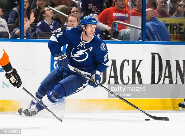 Eric Brewer of the Tampa Bay Lightning skates against the Philadelphia Flyers at the Tampa Bay Times Forum on April 10 2014 in Tampa Florida