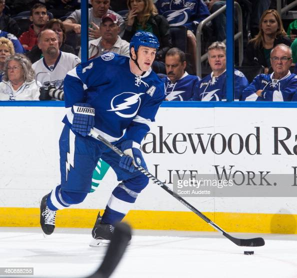 Eric Brewer of the Tampa Bay Lightning skates against the Vancouver Canucks at the Tampa Bay Times Forum on March 17 2014 in Tampa Florida