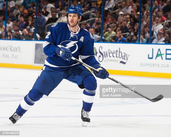 Eric Brewer of the Tampa Bay Lightning skates during the game against the Buffalo Sabres at the Tampa Bay Times Forum on March 6 2014 in Tampa Florida
