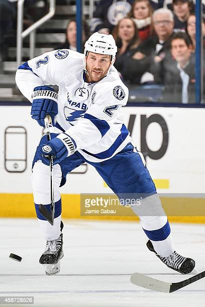 Eric Brewer of the Tampa Bay Lightning skates with the puck against Columbus Blue Jackets on November 8 2014 at Nationwide Arena in Columbus Ohio
