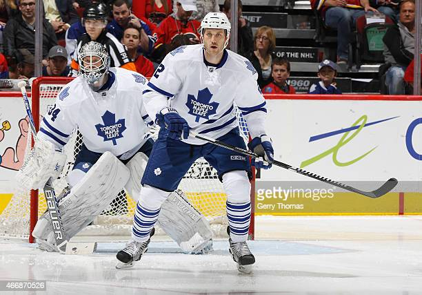 Eric Brewer of the Toronto Maple Leafs skates against the Calgary Flames at Scotiabank Saddledome on March 13 2015 in Calgary Alberta Canada