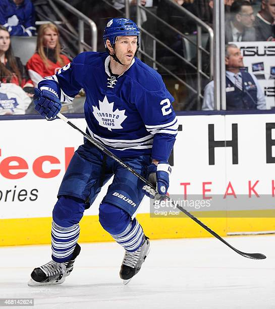 Eric Brewer of the Toronto Maple Leafs skates up the ice against the Ottawa Senators during game action on March 28 2015 at Air Canada Centre in...