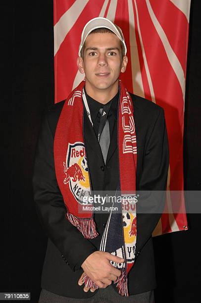 Eric Brunner poses for photo after being selected 16th by New York Red Bull in the MLS Super Draft on January 18 2008 at the Baltimore Convention...