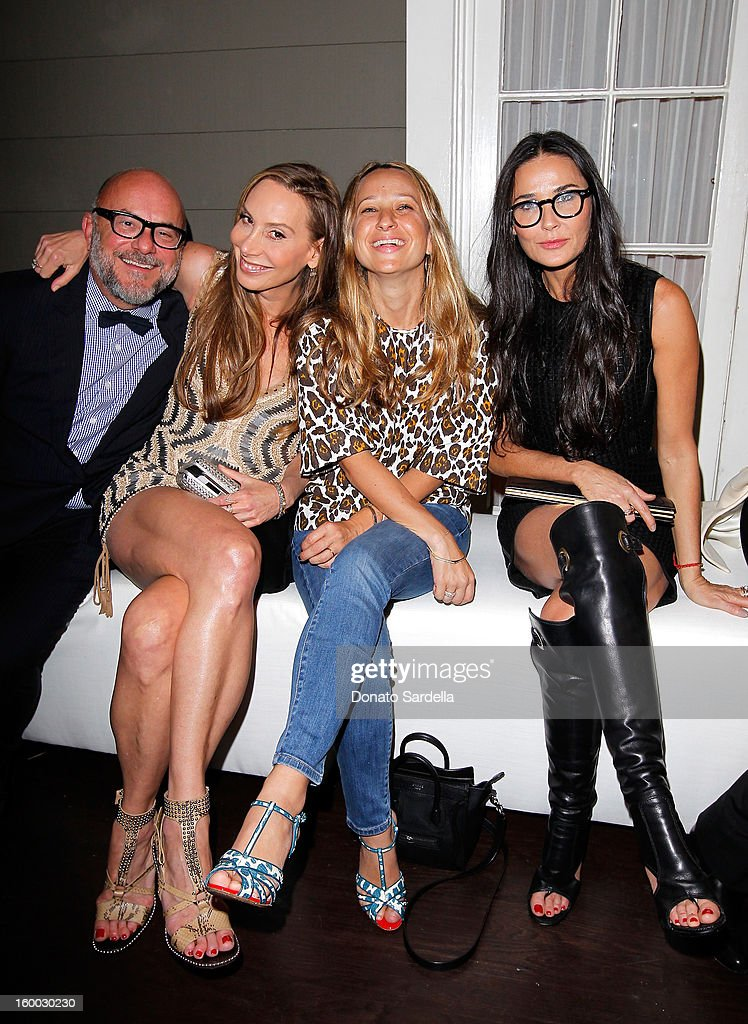 Eric Buterbaugh, Jacqui Getty, Jennifer Meyer, and Demi Moore attend Ferragamo presents Spring Runway Collection with VIP dinner, hosted by Jacqui Getty and Harpers BAZAAR at Chateau Marmont on January 24, 2013 in Los Angeles, California.