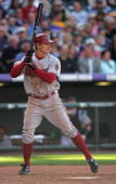 Eric Byrnes of the Arizona Diamondbacks bats against the Colorado Rockies during Opening Day at Coors Field on April 2 2007 in Denver Colorado The...