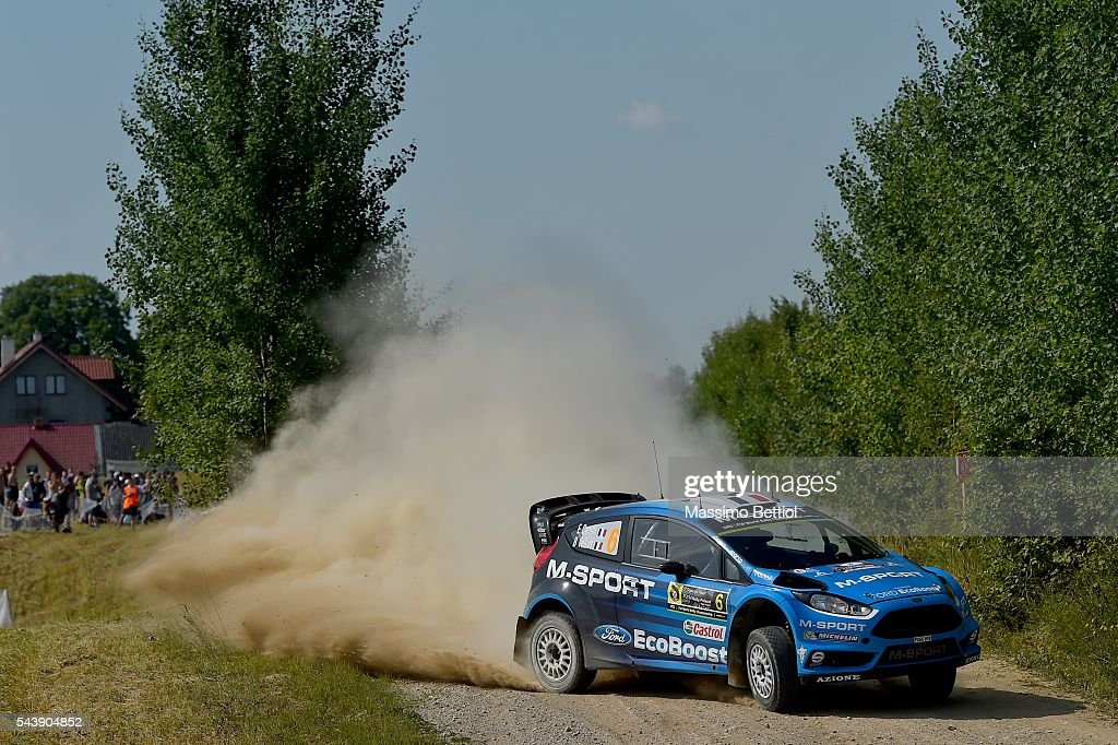 Eric Camilli of France and Benjamin Veillas of France compete in their M-Sport WRT Ford Fiesta RS WRC during the Shakedown of the WRC Poland on June 30, 2016 in Mikolajki, Poland.