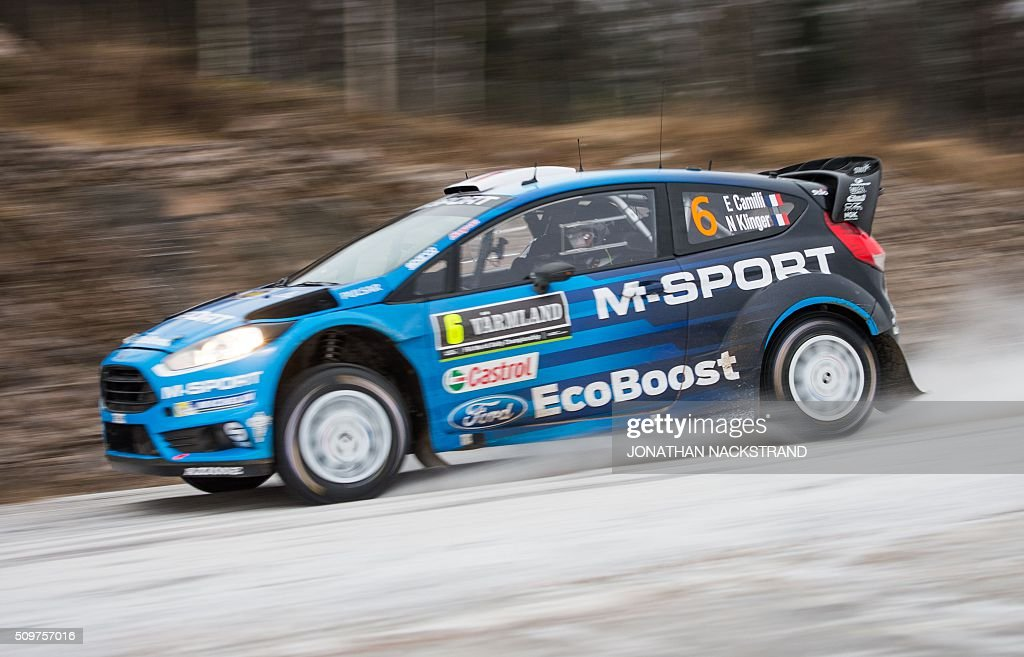 Eric Camilli of France and his co-drier Nicolas Klinger steer their Ford Fiesta RS WRC during the 2nd stage of the Rally Sweden, second round of the FIA World Rally Championship on February 12, 2016 in Torsby, Sweden. / AFP / JONATHAN NACKSTRAND