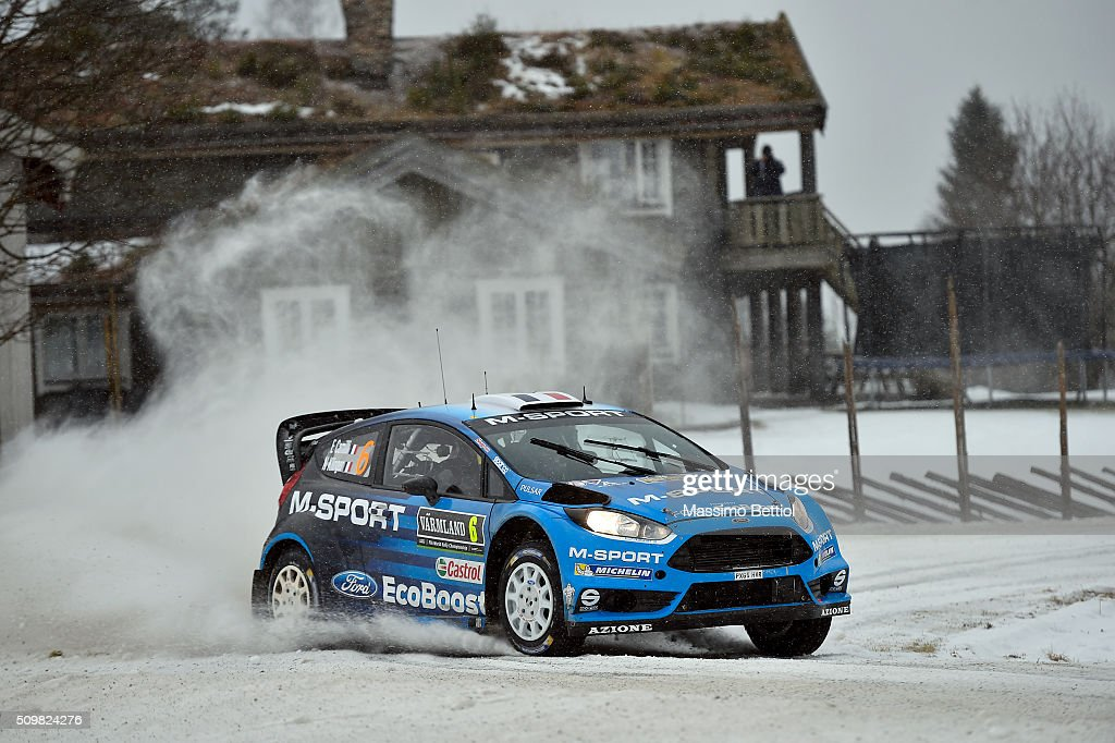 Eric Camilli of France and Nicolas Klinger of France compete in their MSport WRT Ford Fiesta RS WRC during Day One of the WRC Sweden on February 12...